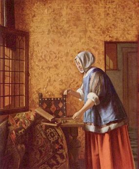 baroque style painting by Dutch artist Pieter de Hooch depicting a woman weighing gold coins